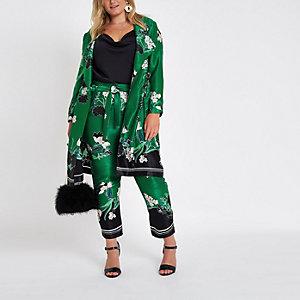 Plus – Manteau long à fleurs vert avec boucle en D