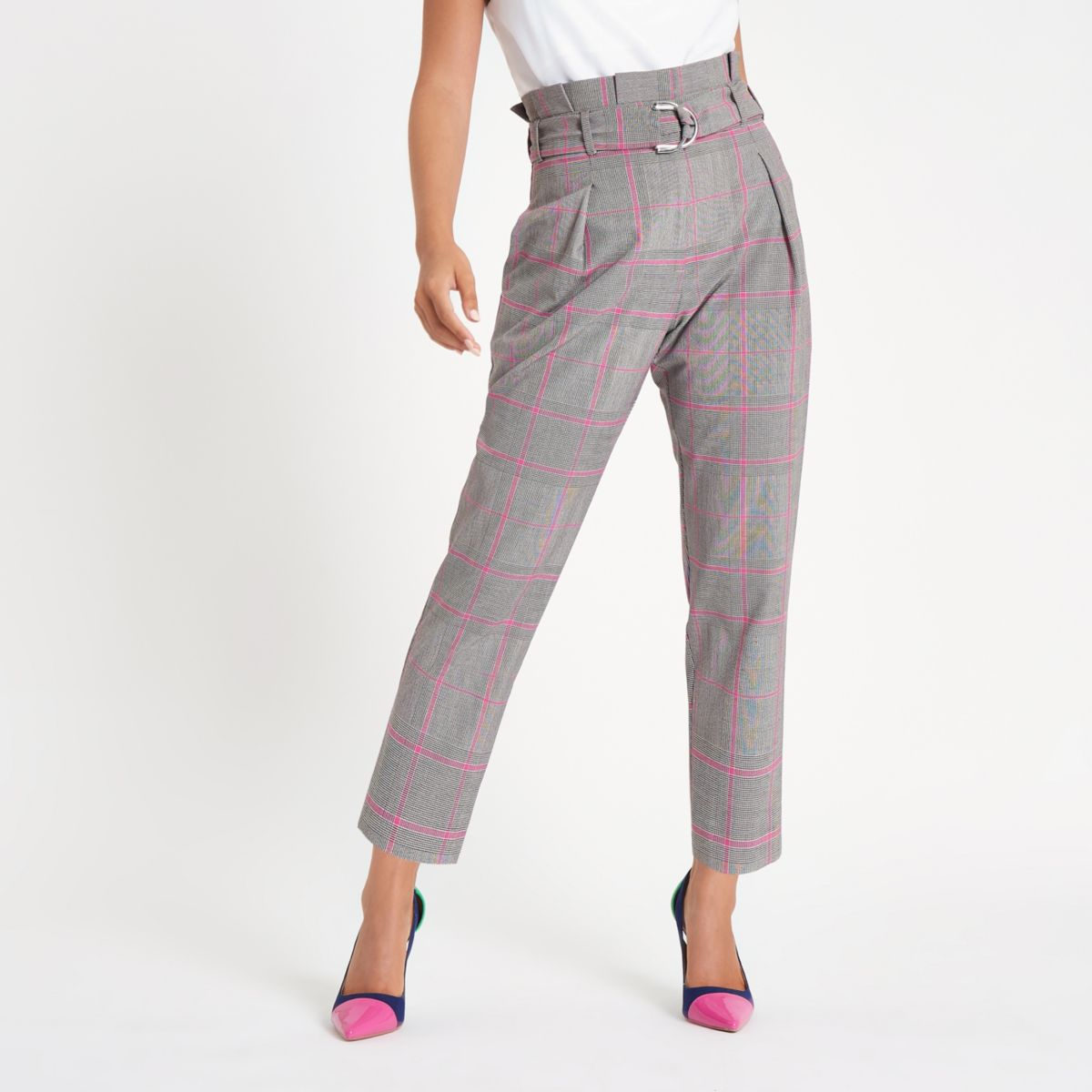 Petite pink check paperbag tapered trousers