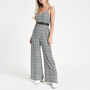 Petite grey check popper side jumpsuit