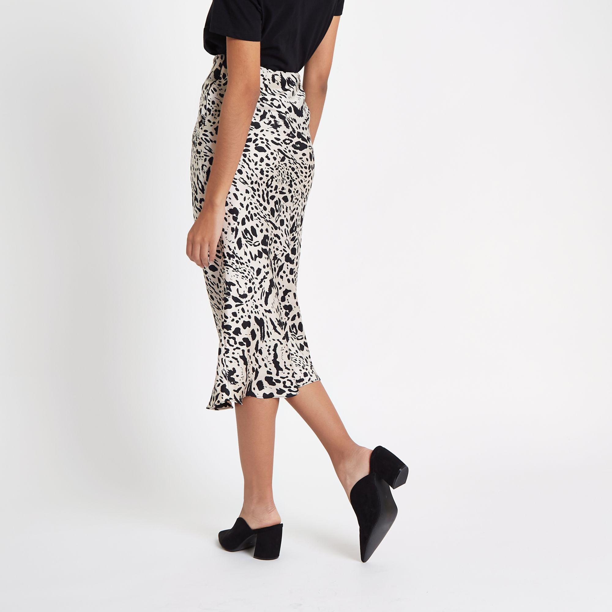 626ad49112 River Island Black leopard print satin midi skirt at £17 | love the ...