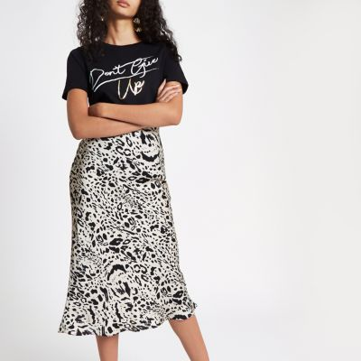 Leopard Satin Skirt
