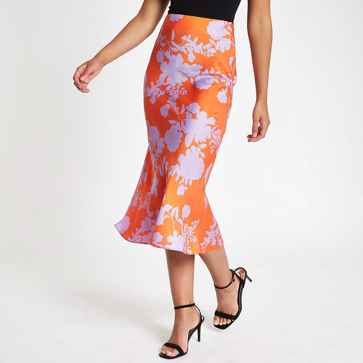 Pink floral print satin midi skirt