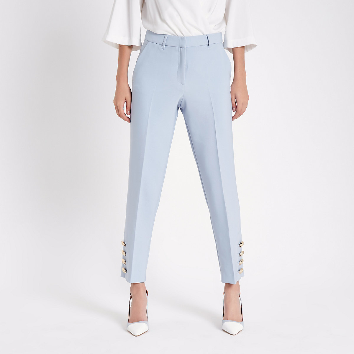 Light blue button trim cigarette pants