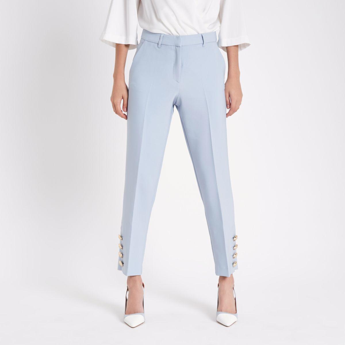 Light blue button trim cigarette trousers