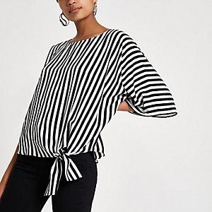 T-shirt rayé noir avec nœud sur le côté
