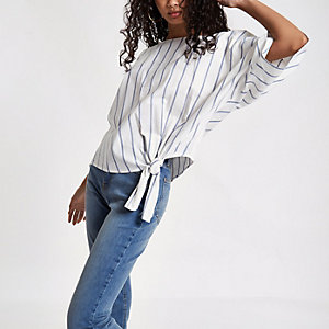 Blue stripe short sleeve tie side top