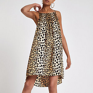 Brown leopard print slip mini dress
