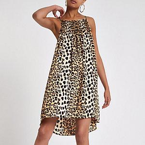 Brown leopard print slip mini dress