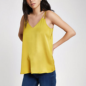 Yellow satin split strap cami top
