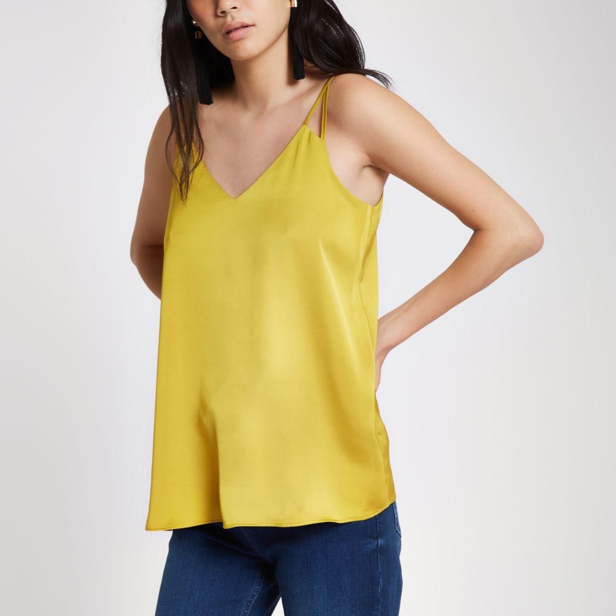Yellow satin split strap cami top