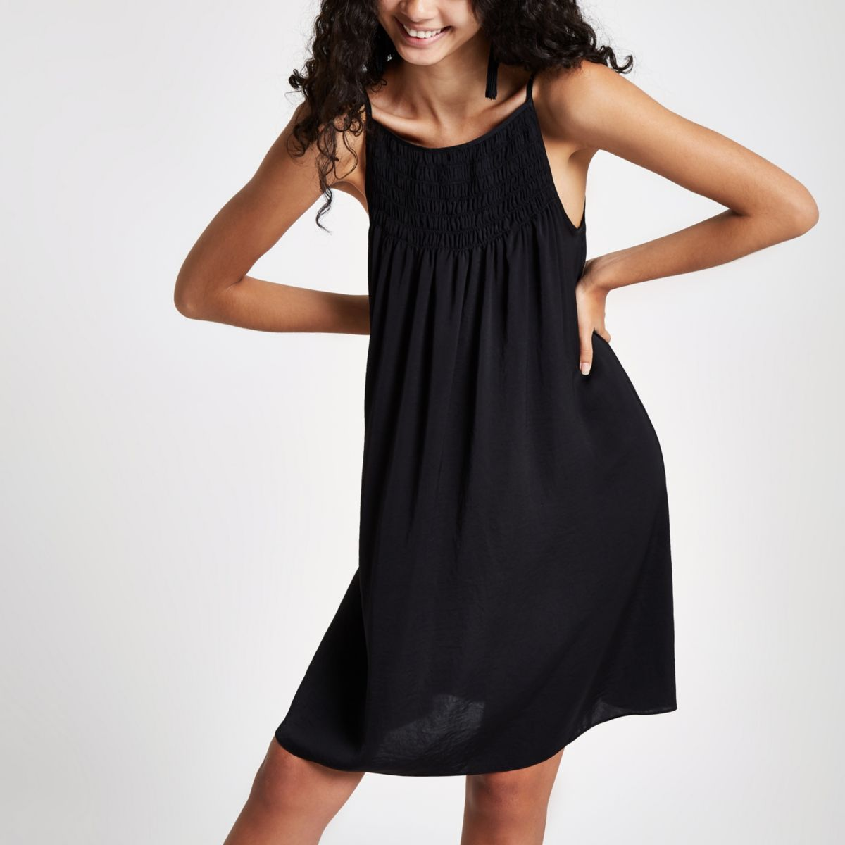 Black shirred slip dress