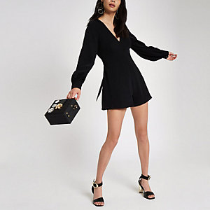 Black long sleeve tie back romper