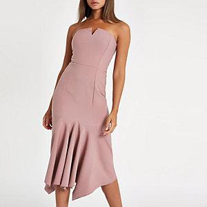 Roze bandeau midi-jurk met ruches aan de zoom