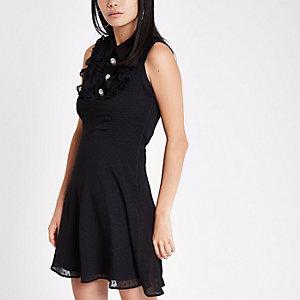 Robe courte habillée noire avec boutons en strass