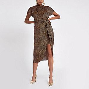 Marineblauwe midi-jurk met print en strikceintuur