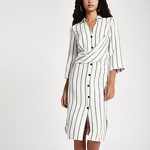 Cream stripe button up midi dress