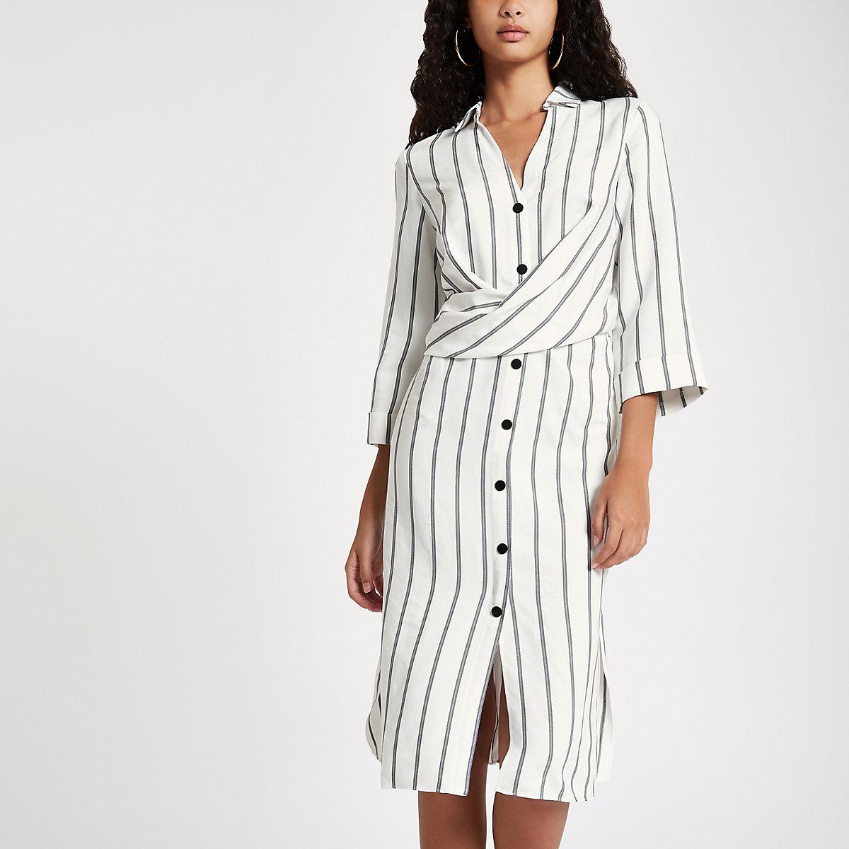 Cream stripe button up midi dress
