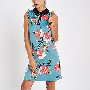 Blaues, geblümtes Swing-Kleid ohne Ärmel