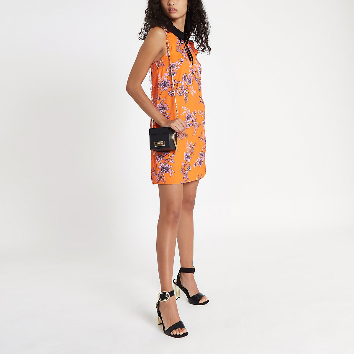 Orange floral bow collar dress