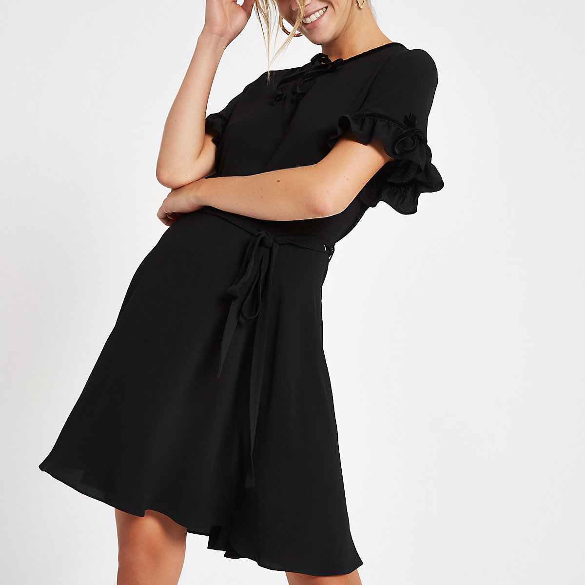 Black velvet bow mini dress