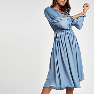 Blue tie neck shirred midi dress