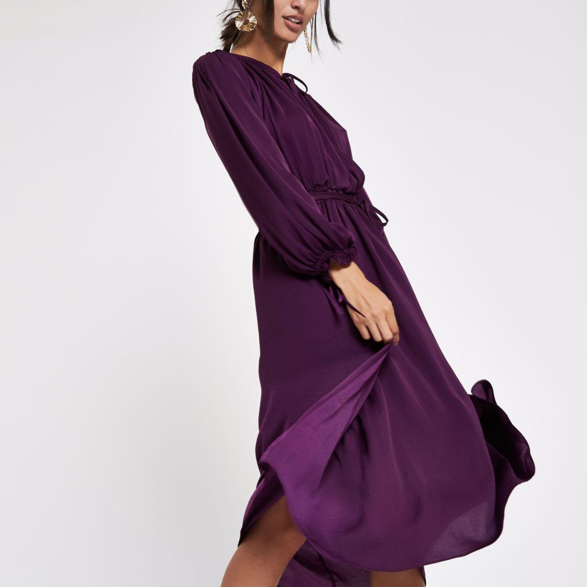 Purple tie neck shirred midi dress