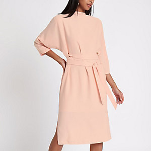 Pink eyelet belted midi dress