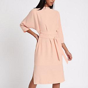Pink eyelet belted midi dress
