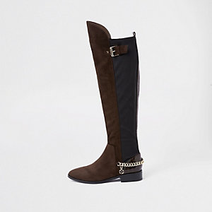 Brown over the knee chain boots