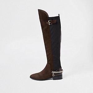 Braune Overknee-Stiefel