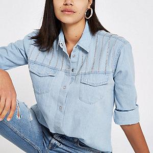 Blue diamante chain mail denim shirt