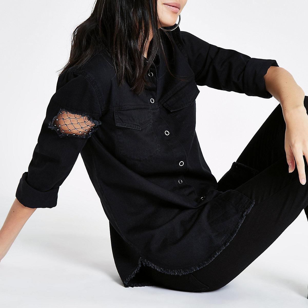 Black denim fishnet insert long sleeve shirt