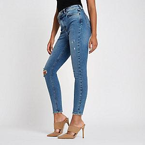 Mittelblaue Original Skinny Jeans im Used-Look