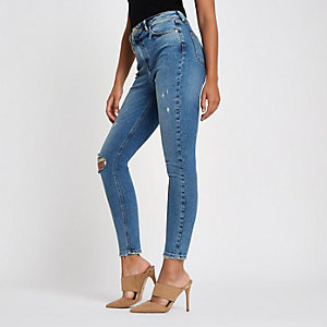 Middenblauwe skinny ripped jeans