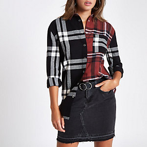 Red check contrast long sleeve shirt