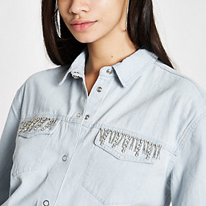 Light blue rhinestone embellished denim shirt