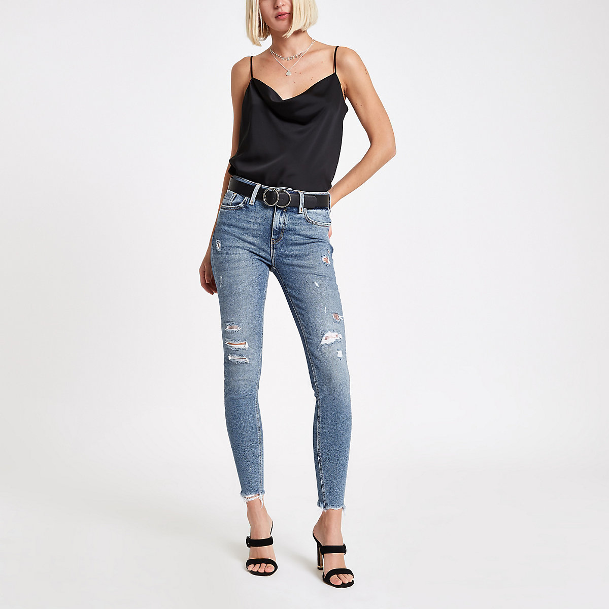 Mid blue Amelie embellished super skinny jean