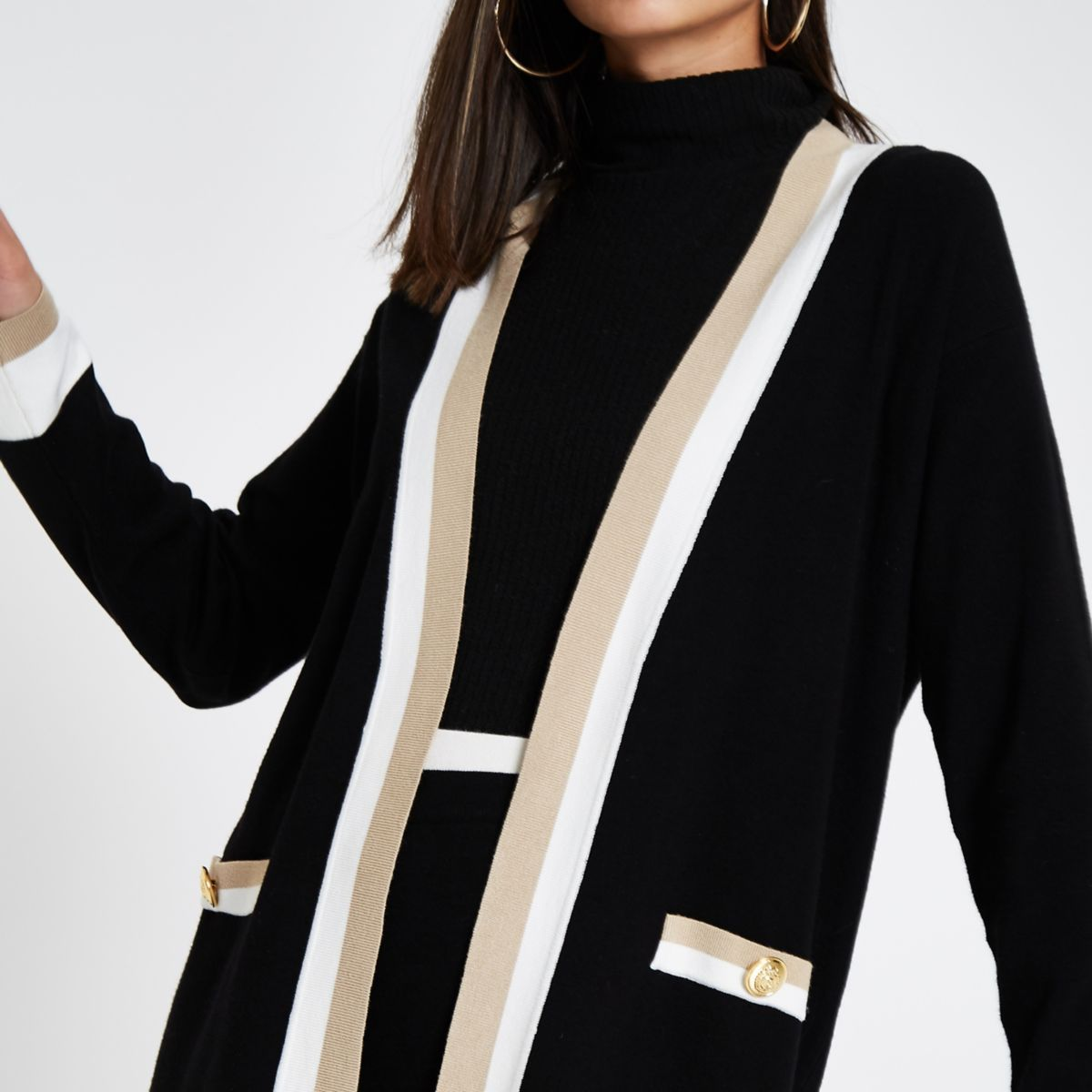 Black knit varsity cardigan
