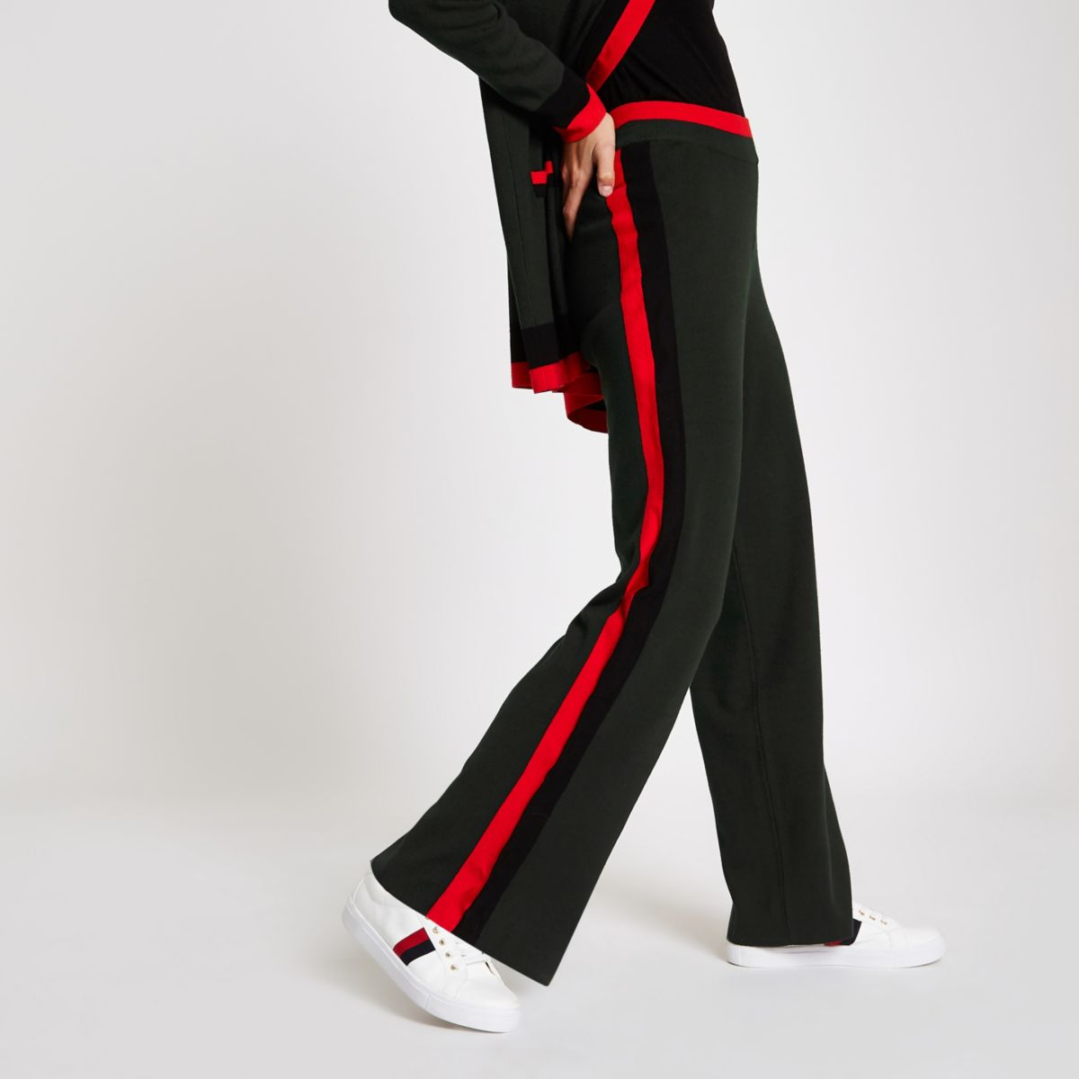 Khaki knitted side stripe pants