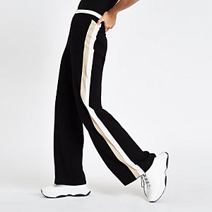 Black knit side stripe varsity pants