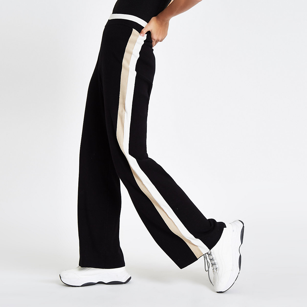 Black knit side stripe varsity trousers