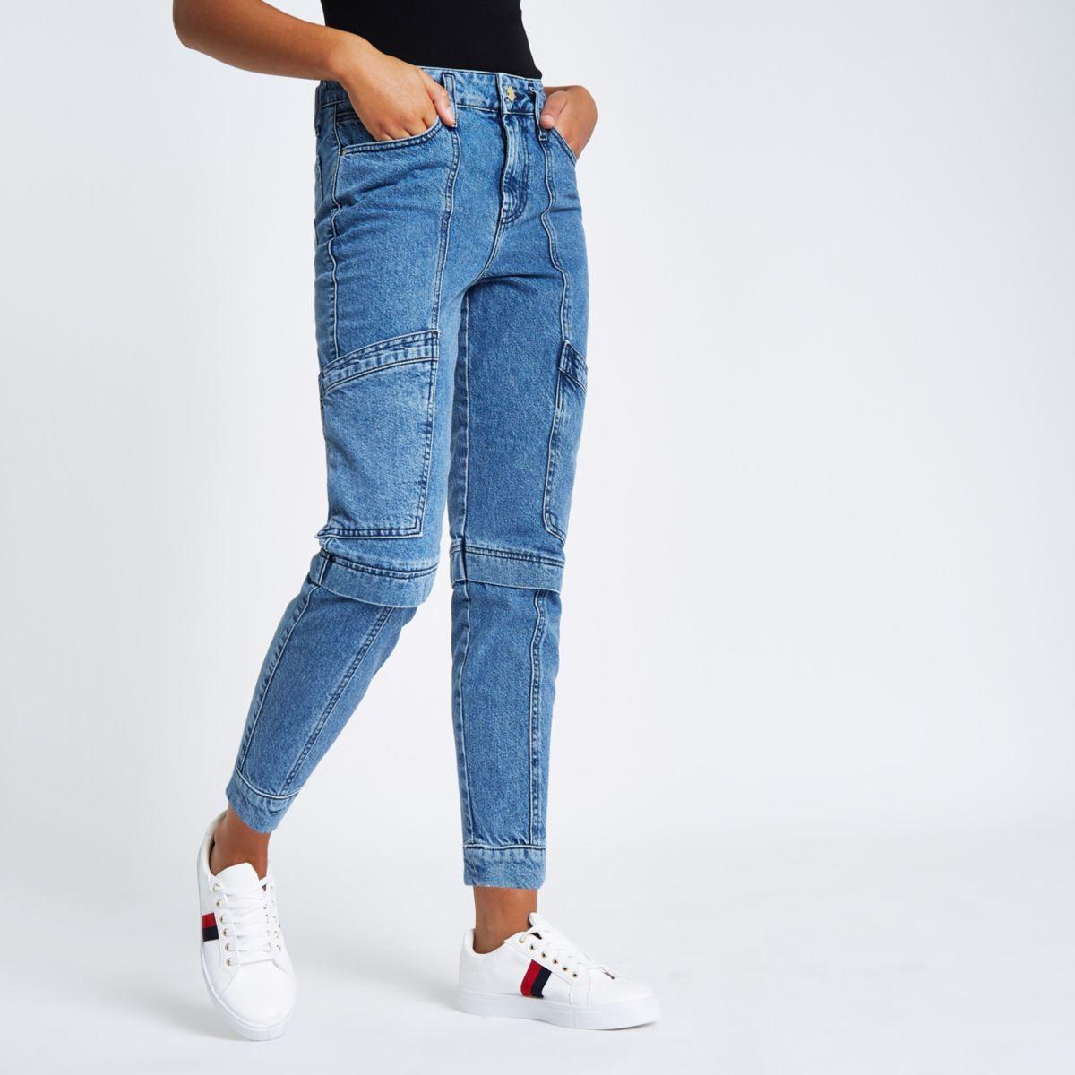 Mid blue combat boyfriend jeans