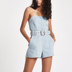 Combi-short bandeau en denim bleu clair à ceinture