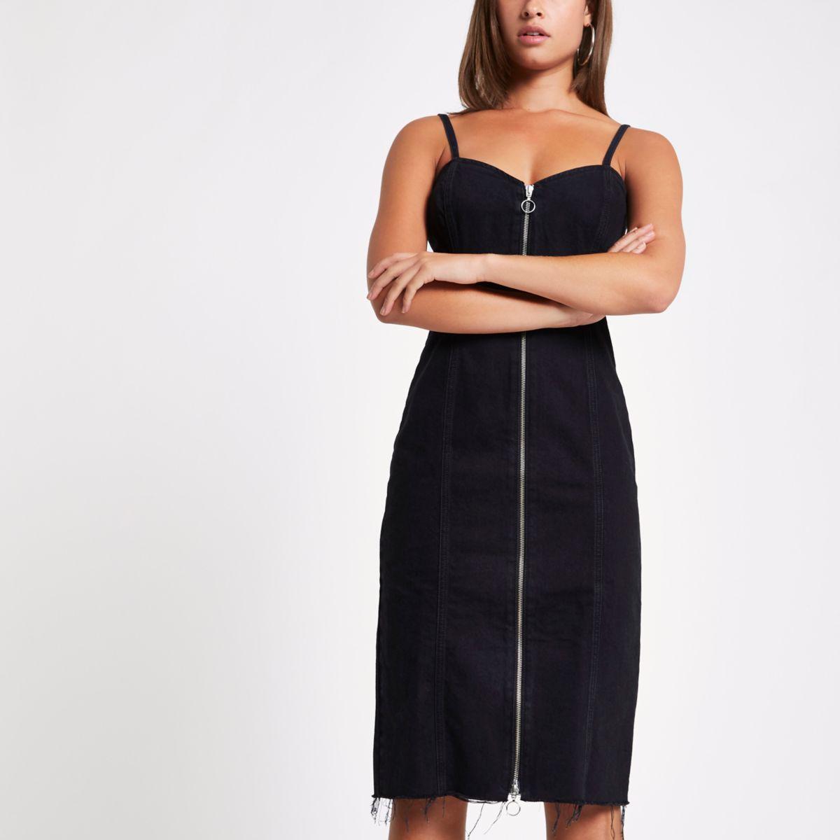 Black denim zip front fitted midi dress
