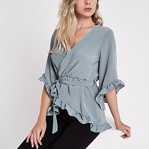 Grey tie waist frill wrap top