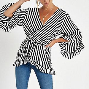 Zwarte gestreepte blouse met strikceintuur  en ruches