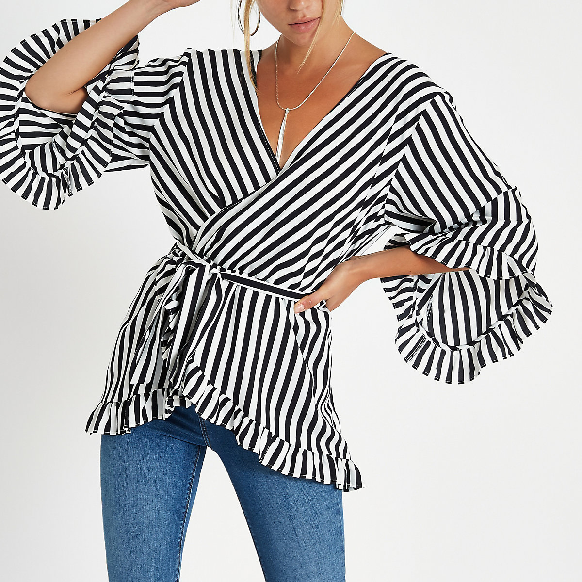 Black stripe wrap tie waist frill blouse