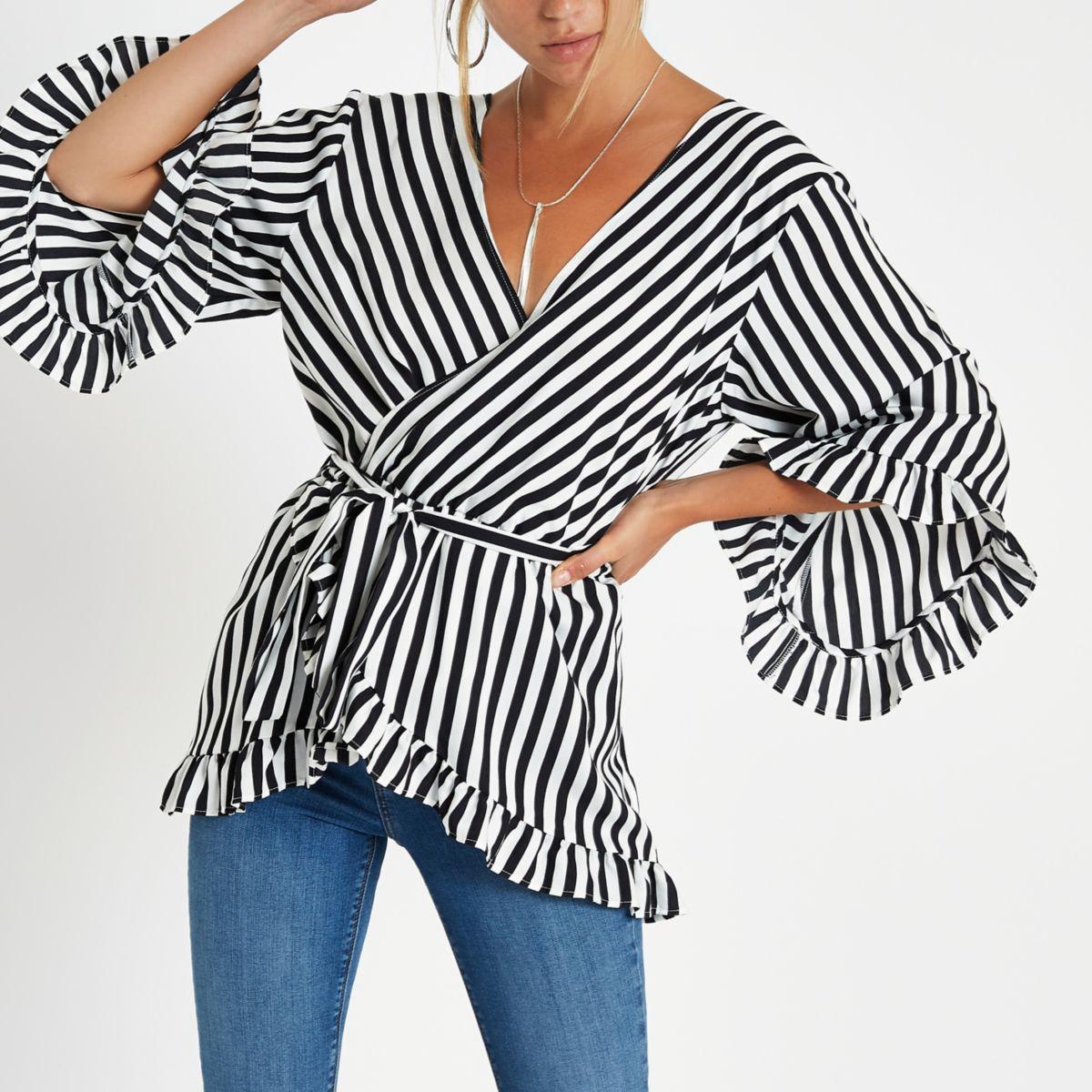 Black stripe wrap tie waist frill blouse