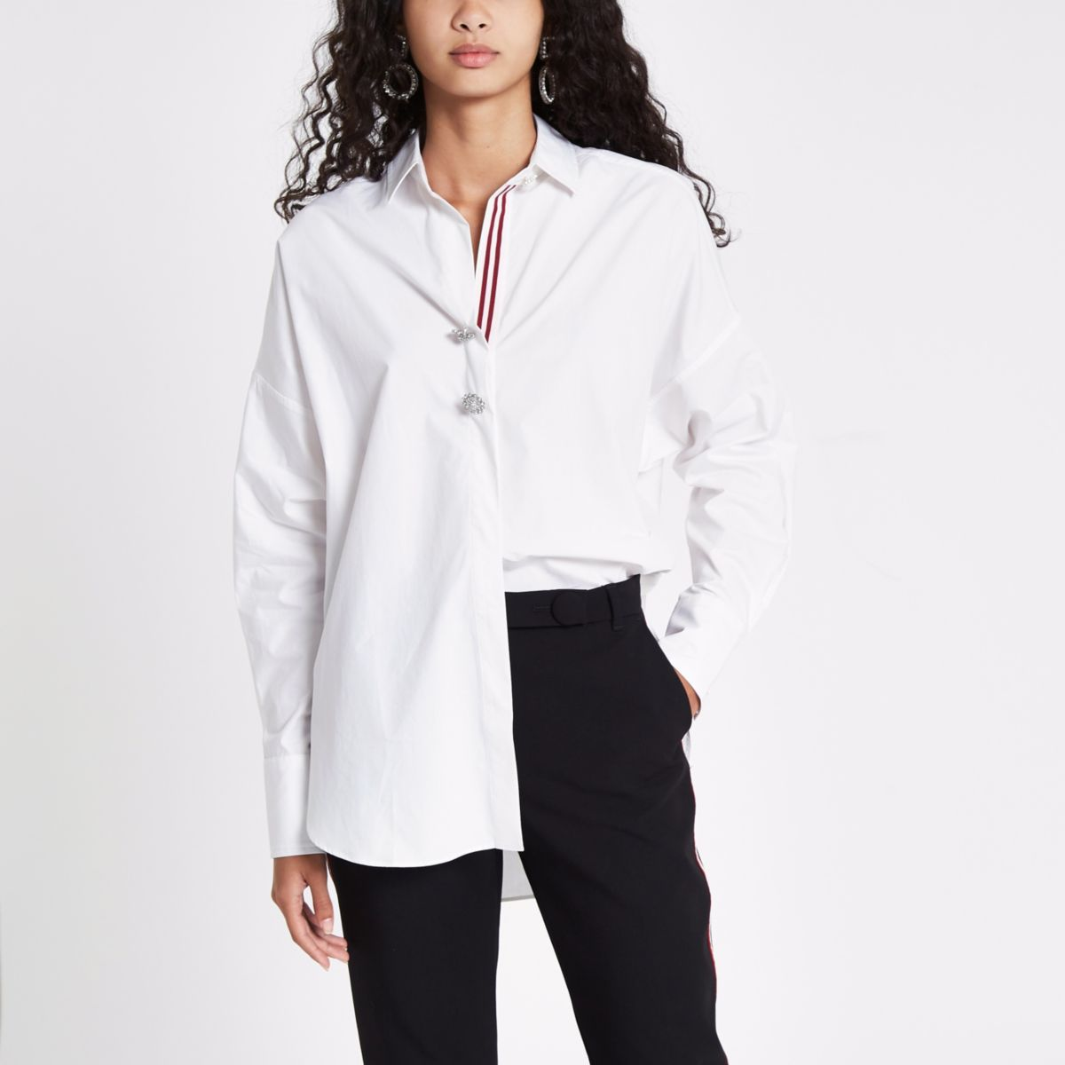 White batwing tape trim shirt