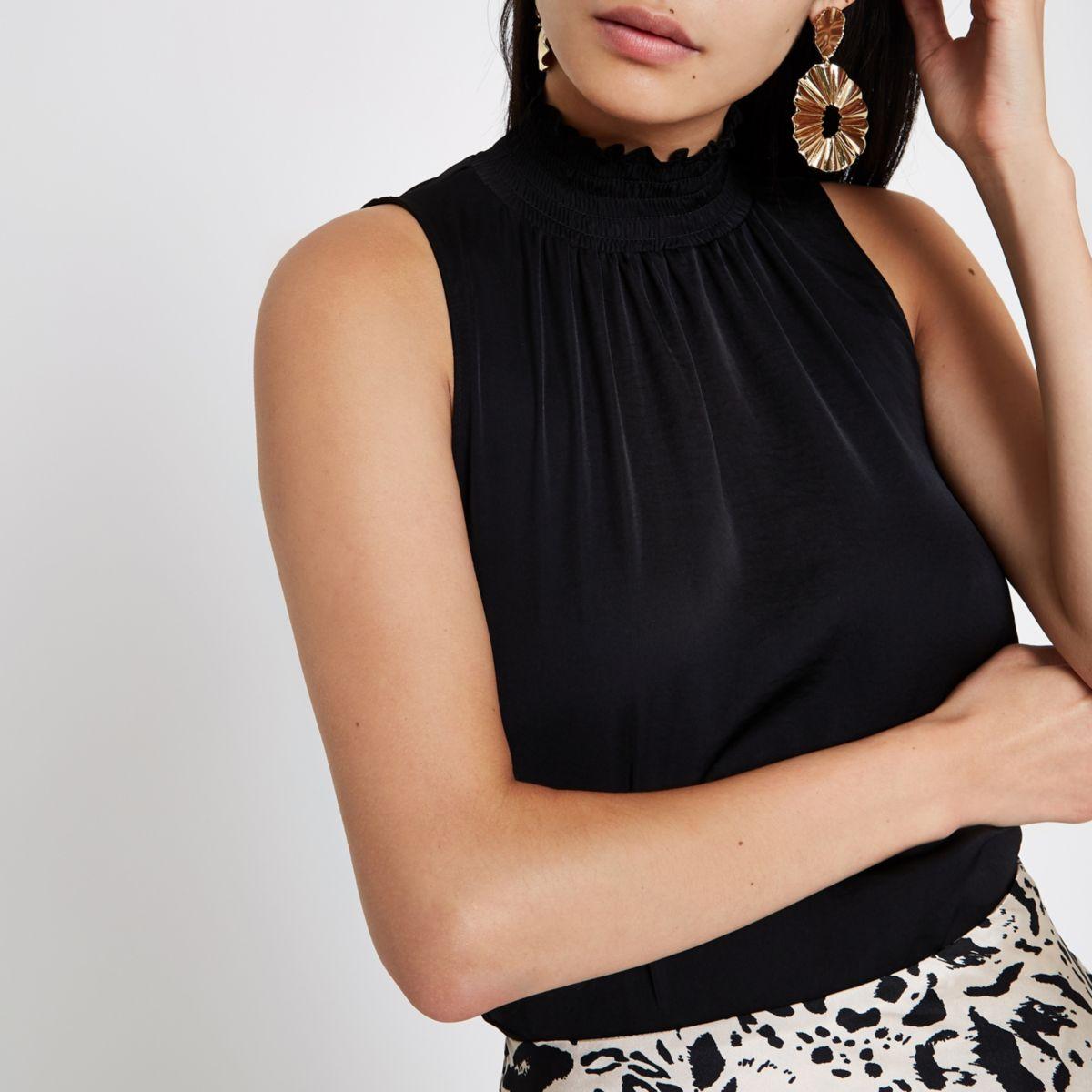 Black shirred high neck sleeveless top